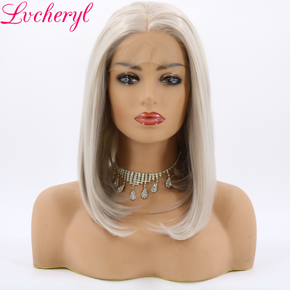 Lvcheryl Hand Tied Short Grey Hair Bob Wigs Synthetic Lace Front Wigs Glueless Heat Resistant Fiber