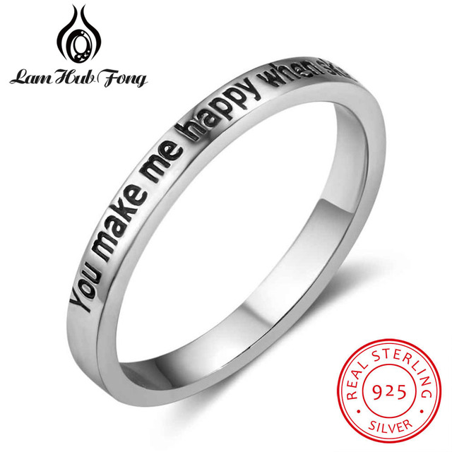 Hot Selling 100% 925 Sterling Silver Rings for Women YOU MAKE ME HAPPY WHEN SKIE