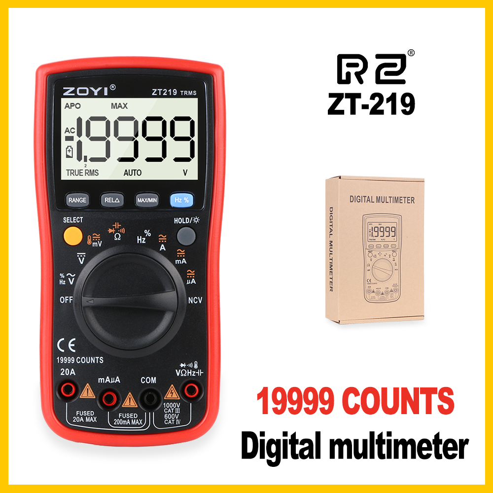 Digital LCD Multimeter Electrical Handheld Pocket Precision Professional Smart CE Digital Multimeter Digital Tester True ZT219