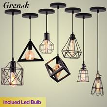 Nordic Pendant Lights Iron Minimalist Loft Cage Pyramid Pendant Lamp Modern Industrial Metal Hanging Lamp Parlor E26 E27 LED NEW цены