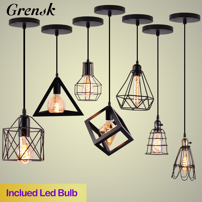 Nordic Vintage colgante luces de hierro minimalista Loft jaula pirámide lámpara de techo colgante moderna de Metal Industrial lámpara colgante de E27 LED for cocina accesorio lamparas colgantes de techo