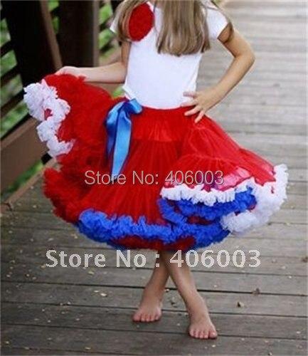 2012 июля красный белый синий полный и пушистый девочки отечественной pettiskirt 5 шт./лот