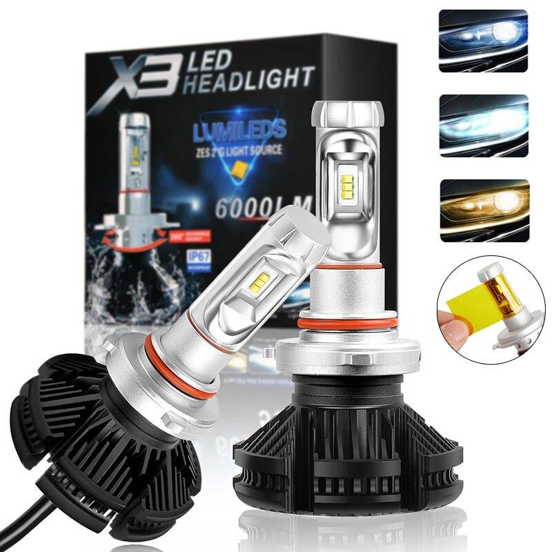 2pcs X3 led headlight 50W 6000LM H4 H7 LED Car Headlight 3000K/6500K/8000K ZES Chip H1 H11 9005 HB3 9006 HB4 LED fog Lamp Auto 1 set h11 50w 4000lm 5s led headlight kit lumiled luxeon zes 12led smd chip fanless 6500k driving fog drl lamp bulb repl hid hal