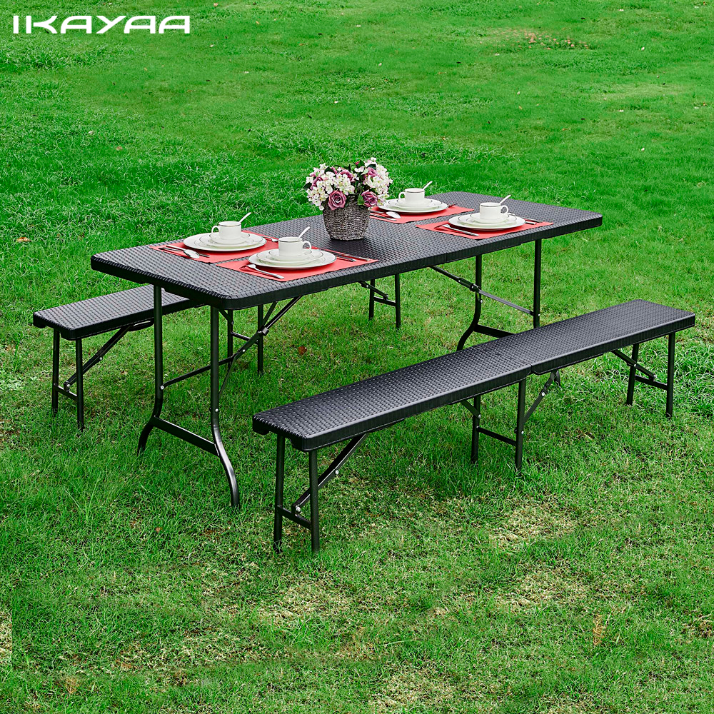 IKayaa 6FT Folding Camping Picnic Table Portable Garden Party BBQ Dining Kitchen Table Outdoor Furniture US DE FR Stock