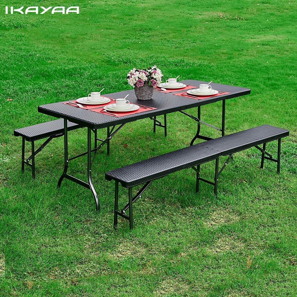 iKayaa 6FT Folding Camping Picnic Table Portable Garden ...