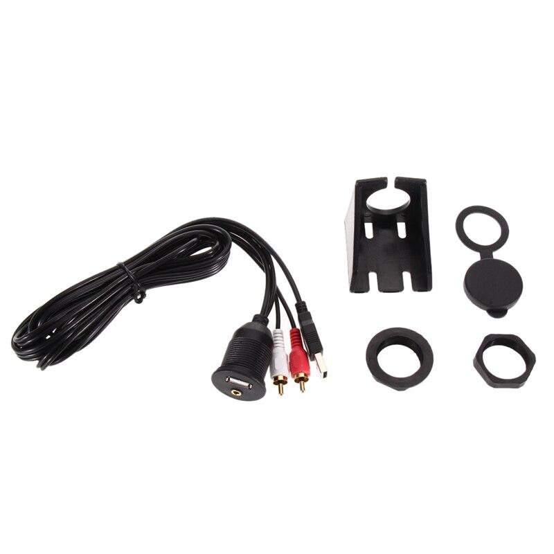 imágenes para Envío Gratis Motocicleta de La Bici Montaje de Carrera A Prueba de agua Línea de Audio Del Coche Cable de Extensión USB 1.1/2.0 AUX 2 RCA