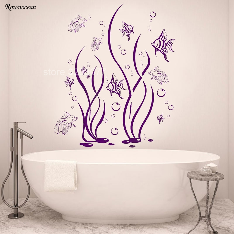 The Underwater World Seaweed Fish Bubbles Vinyl Art Interior Home Decoration Bathroom Wall Stickers Self-adhesive Murals B-09