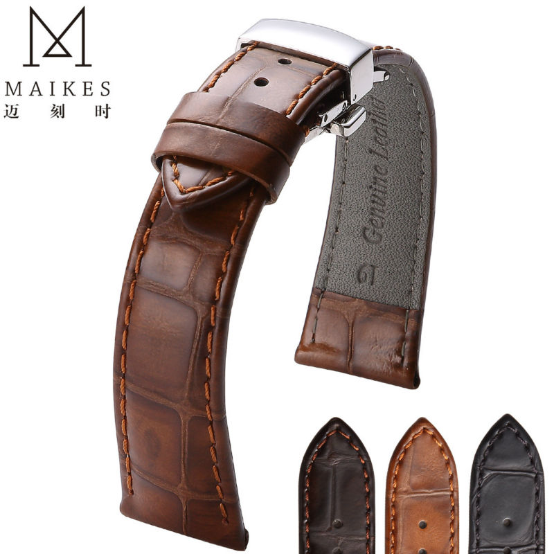 MAIKES Vintage Style Genuine Leather Watch Band 20mm 22mm For Luxury Watch Accessory Leather Strap