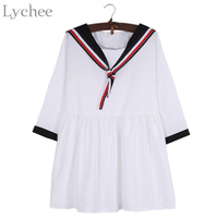 Lychee Preppy Style Spring Summer Women Dress Sailor Collar Striped Casual Loose Mini Dress