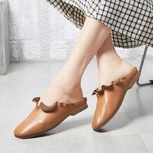 Купить с кэшбэком JINBEILEE 2019 Spring and Summer New Walking Shoes Women's Handmade Leather Flat Bottom Baotou Low Heel Lace Casual Shoes Women