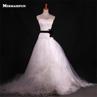 2018 Real Photos A Line Luxury Sweetheart Lace Bodice Tulle Skirt Black Belt Wedding Dresses Bridal Gown