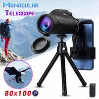 Telescopio Monocular portátil de aumento de 80x100, binoculares con Zoom, gran telescopio de mano, militar, HD, caza potente