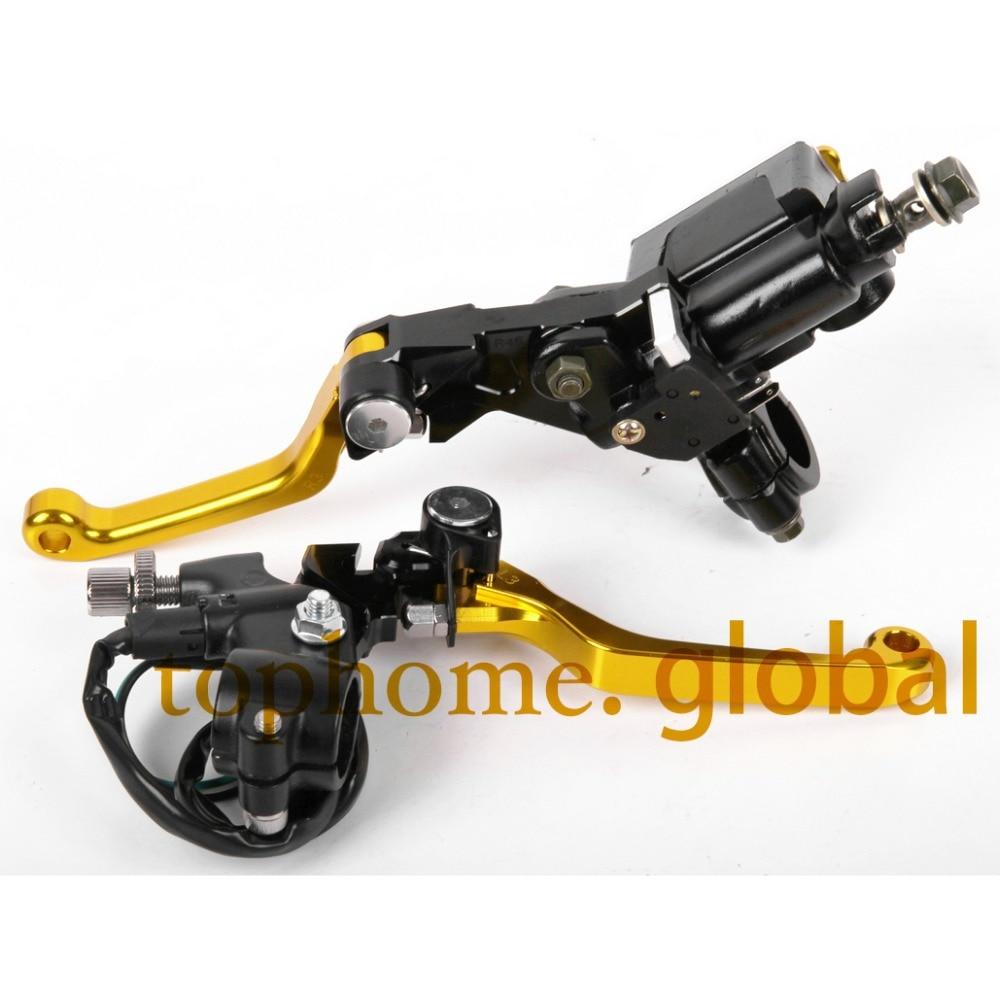 7/8 New CNC Brake Master Cylinder Pressure Switch Reservoir Levers Dirt Pit Bike Set For SUZUKI RMZ250 2004