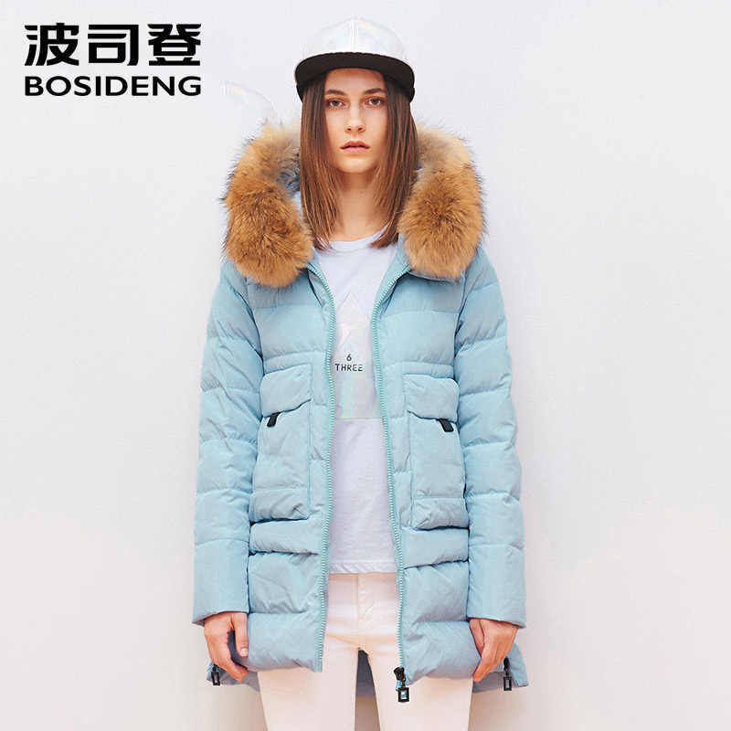 de6442de8c9 BOSIDENG winter down jacket for women duck down coat natural fur collar big  pocket hooded high