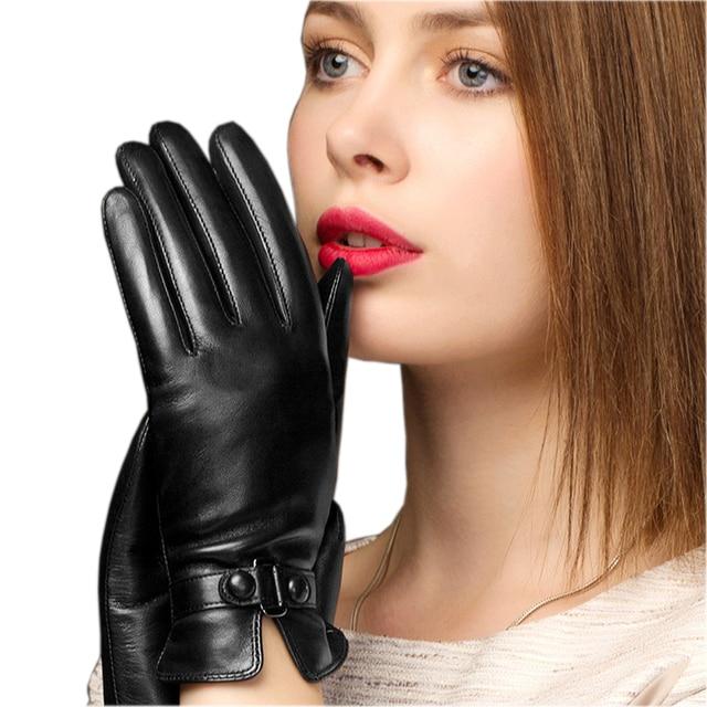 BOOUNI hakiki deri eldiven moda trendi kadın koyun derisi eldiven termal kış artı kadife deri sürücü eldivenleri NW745