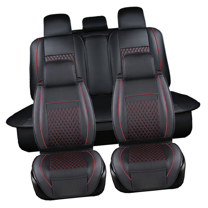 Cubierta de asiento de Pu A prueba de agua negro Juego completo cubierta de asiento de cuero impermeable para coche Protector de cojines de Auto para Fiat viagg ottimo - 3