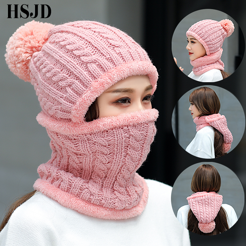 2018 Winter Women Balaclava Knitted Hat Mask Collar Face Neck Protection Girls Skullies Beanies Multi Functional Unisex Snow Cap