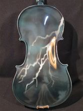 Handmade Beautiful Drawing Blue Electric /Acoustic Violin/Violino 4/4 Lightning Painted String Instrument Case Bow Included