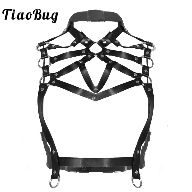 TiaoBug Women Black Faux Leather Harness Belt Metal Rings Halter Body Caged Harness Crop Tops Bondage Punk Gothic Rave Costume