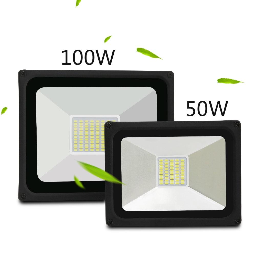 2017 nueva luz de inundación llevada 50 W 100 W IP65 proyector impermeable lámpara gardden calle Iluminación de exterior reflector 176-264 V