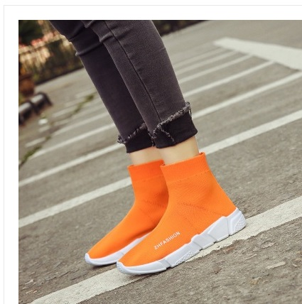 2018 new style MWSC Autumn Winter WOMens Fashion Slip On Shoes High Top Casual Fly Weave High Top Sock Warm Shoes