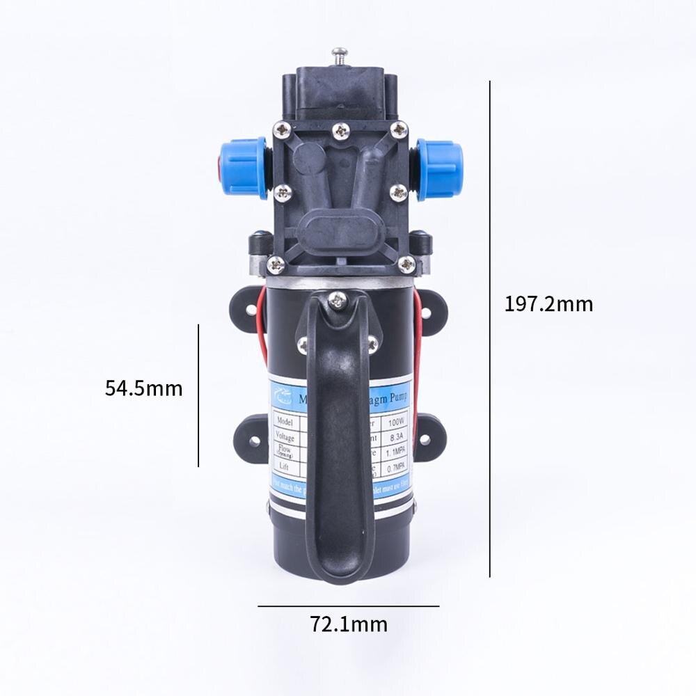 DC 12 V 100 W 1.1MPA 130PSI 8L/Min eau haute pression pompe à membrane électrique auto-amorçante pompe interrupteur automatique pour jardin - 5
