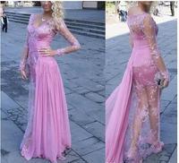 Мода розовый шифон с длинным рукавом Выпускные платья 2018 совок аппликации кружево Совок Homecoming для официальная вечеринка