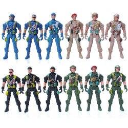 Мобильный солдат игрушки военный песочница модель Playset специальная сила фигурки дети игрушки пластиковый солдат Мужчины случайный 9 см