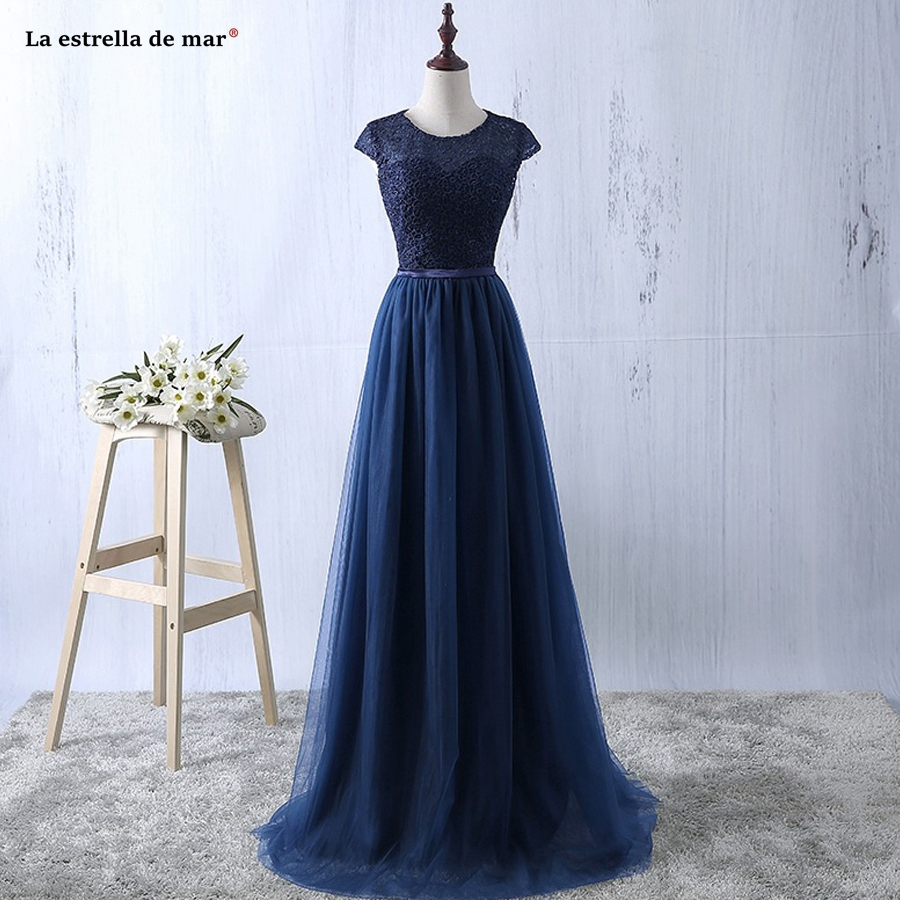 Robe demoiselle d'honneur2019 new Scoop neck lace short sleeve A Line navy blue dark green pink silver   bridesmaid     dresses   long