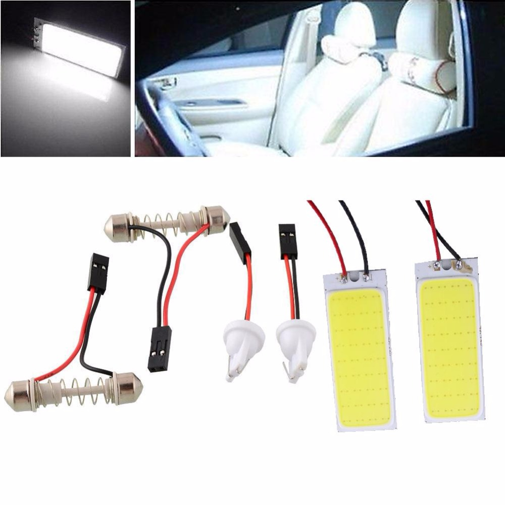2pcs HID Bright 36 COB LED Panel Light Efficient For Auto Interior Door Trunk Dome Reading White Lamp