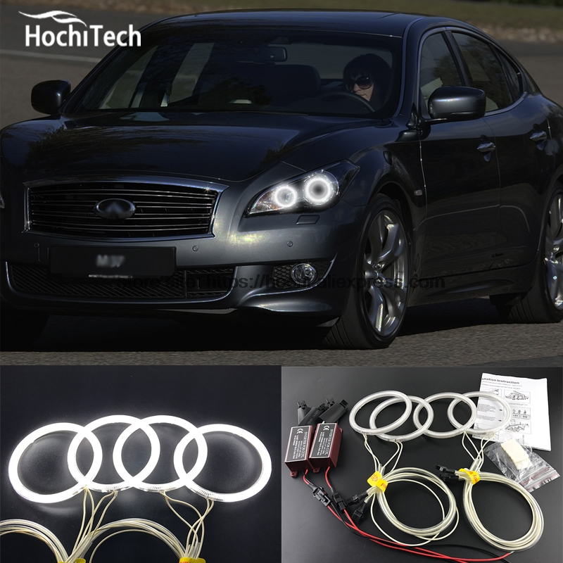 HochiTech WHITE 6000K CCFL Headlight Halo Angel Demon Eyes Kit angel eyes light for nissan Infiniti M series Q70 2011-2014 hochitech white 6000k ccfl headlight halo angel demon eyes kit angel eyes light for vw volkswagen golf 5 mk5 2003 2009