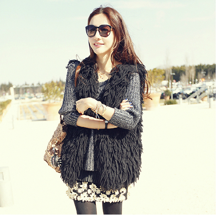 2016 New Designer Winter Warm Fashion Coat Cardigan Vest Without Belt Tassel Fashion Vests For Women WF-5166