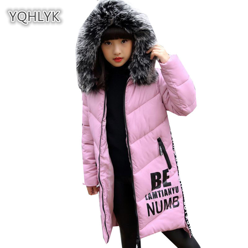 Children Winter Girl Cotton coat Letter Hooded Warm Cotton Thicken Girl Jacket Long Parkas Kids Outerwear & Coats LK111 children new winter girl coat fashion hooded warm down jacket thicken girl cotton long parkas coat cotton outerwear