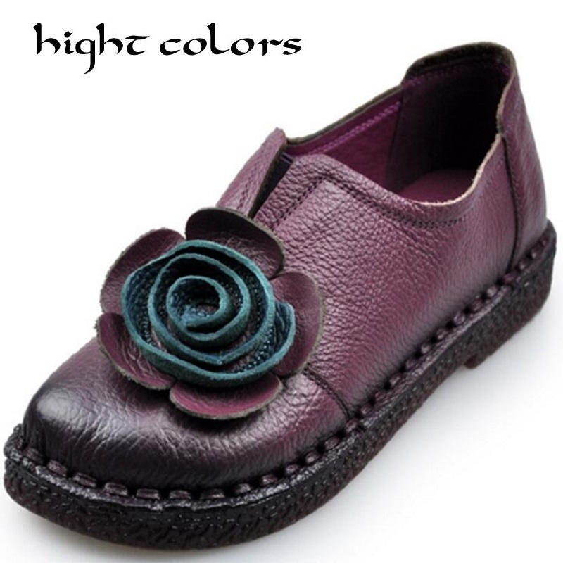 Genuine Leather Women Flats Shoes Female Handmade Flowers Loafers Soft Bottom Flat Shoes For Women Vintage Deep Mouth genuine leather mom shoes retro flowers soft bottom flats shallow mouth women shoes comfortable large size elderly shoes obuv