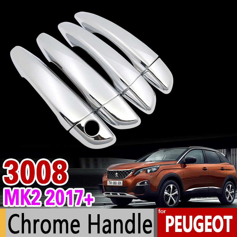 for Peugeot 3008 2017 2018 Luxurious Chrome Handle Cover Trim Set MK2 2nd Gen Never Rust Car Accessories Stickers Car Styling for mazda cx 5 cx5 2nd gen 2017 2018 interior custom car styling waterproof full set trunk cargo liner mats tray protector