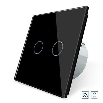 OS-02WR-2 de interruptor de cortinas a distancia inteligentes para hogar táctil estándar de 2017 UE con Panel de cristal negro de lujo
