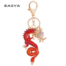 EASYA Chinese Style Dragon Mascot Alloy Keychain Oil Painting Exquisite Car Bag Accessories Good Charms for Handbags CHY-2224