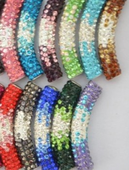 hotsale black blue c223 mixed multi color micro pave long bending tube crystal gradual crystal  beads