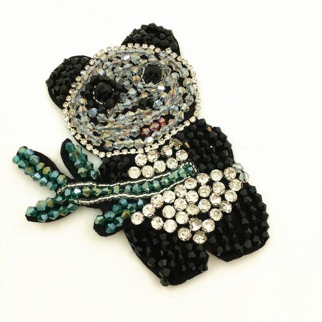 4 stück Nähen Auf Rhinestone Perlen Panda Patch Kristall Applique ...