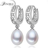 Real Freshwater Pearl Earrings For Women 925 Sterling Silver Pearl Earrings Fine White Pearl Earrings Jewelry