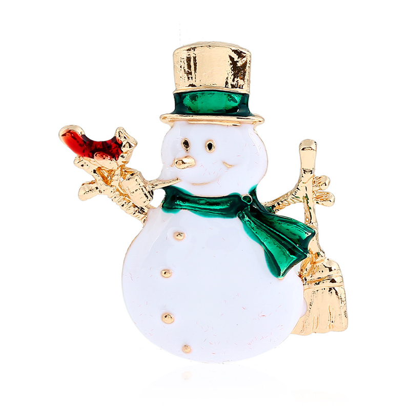 DoreenBeads Lovely Snowman Brooch Enamel Pins Christmas Gift Fashion Safety Pin Kids Accessory for Sweater Coat Scarf Hat Bag
