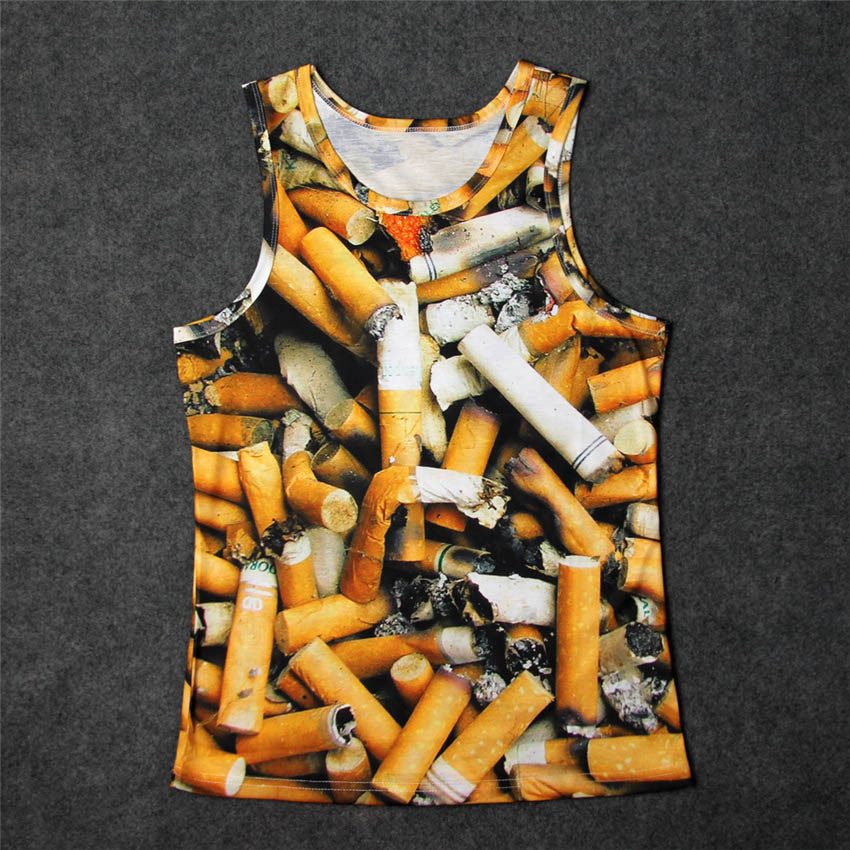 2017 New Arrival Summer Fashion O-Neck Vest Men Funny Sleeveless T-shirts 3d print Cigarette Skull Space Galaxy Male Tank Tops