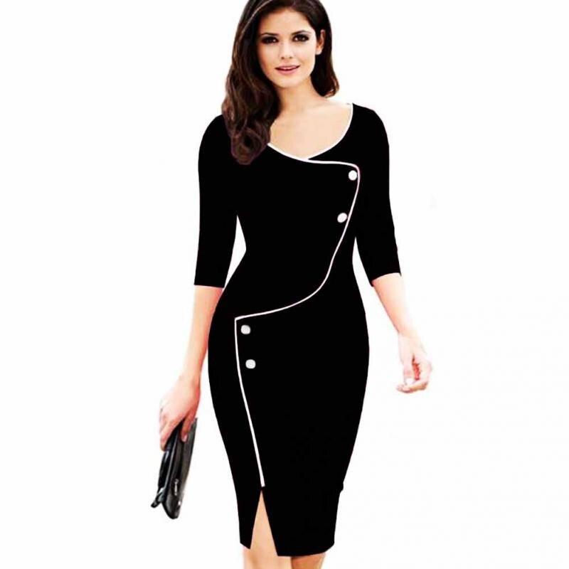 Women Elegant Deep V-neck 3/4 Sleeve Hit Color Front Slit Formal OL Party Pencil Dress