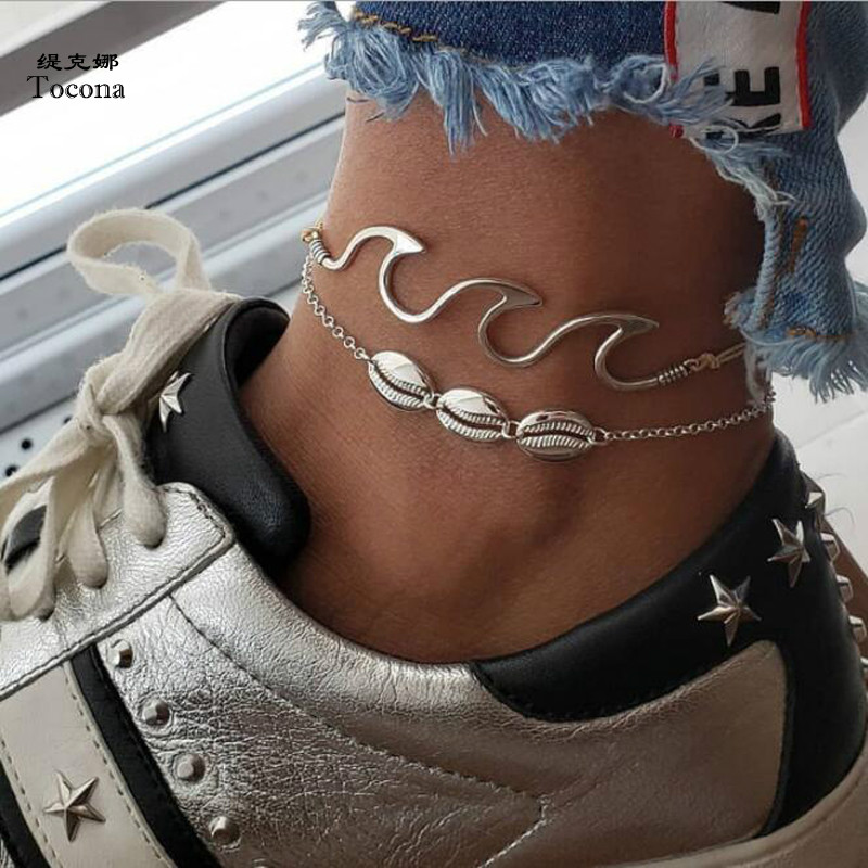 Tocona 2pcs/sets Bohemian Summer Shell Anklets for Women Silver Color Wave Rope Foot Chain Beach Jewelry Wholesale 6478