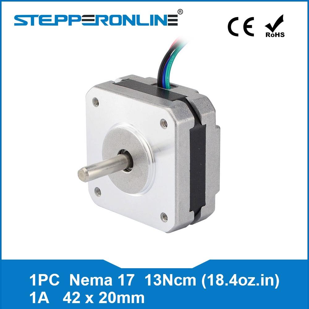 4-plomo Nema 17 paso a paso Motor 20mm 1A 13Ncm (18.4oz.in) 42 Motor Nema17 paso a paso para DIY 3D impresora CNC XYZ