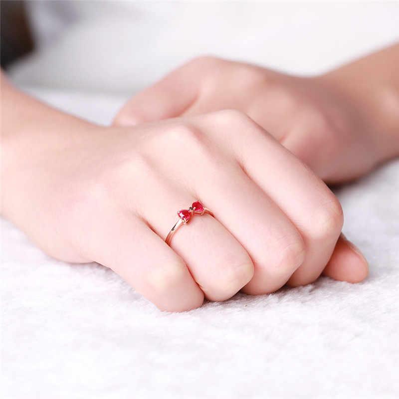 18พันRose G Old P Latedสีแดงทับทิมแหวนจริง925แหวนพลอยSilverสำหรับผู้หญิงผีเสื้อดอกไม้รักวิจิตรเครื่องประดับแต่งงาน