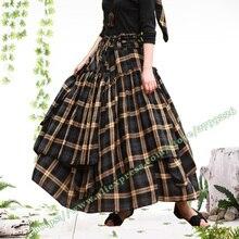 Осень и зима размера плюс 6XL XXXXL винтажные повседневные хлопок клетчатые и цветочные плиссированные макси длинные юбки для женщин