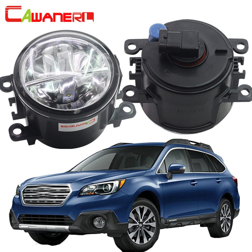 Cawanerl 2 X Car Accessories LED Bulb Fog Light 4000LM White 6000K 12V DRL Daytime Running Lamp For Subaru Outback 2010-2012 cawanerl 2 x car led fog light drl daytime running lamp accessories for nissan note e11 mpv 2006