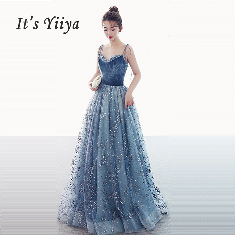 It's Yiiya   Prom     Dress   Sexy V-neck Robe De Soiree Elegant Blue Women Party   Dresses   2019 Long Plus Size Sequin   Prom   Gowns E657