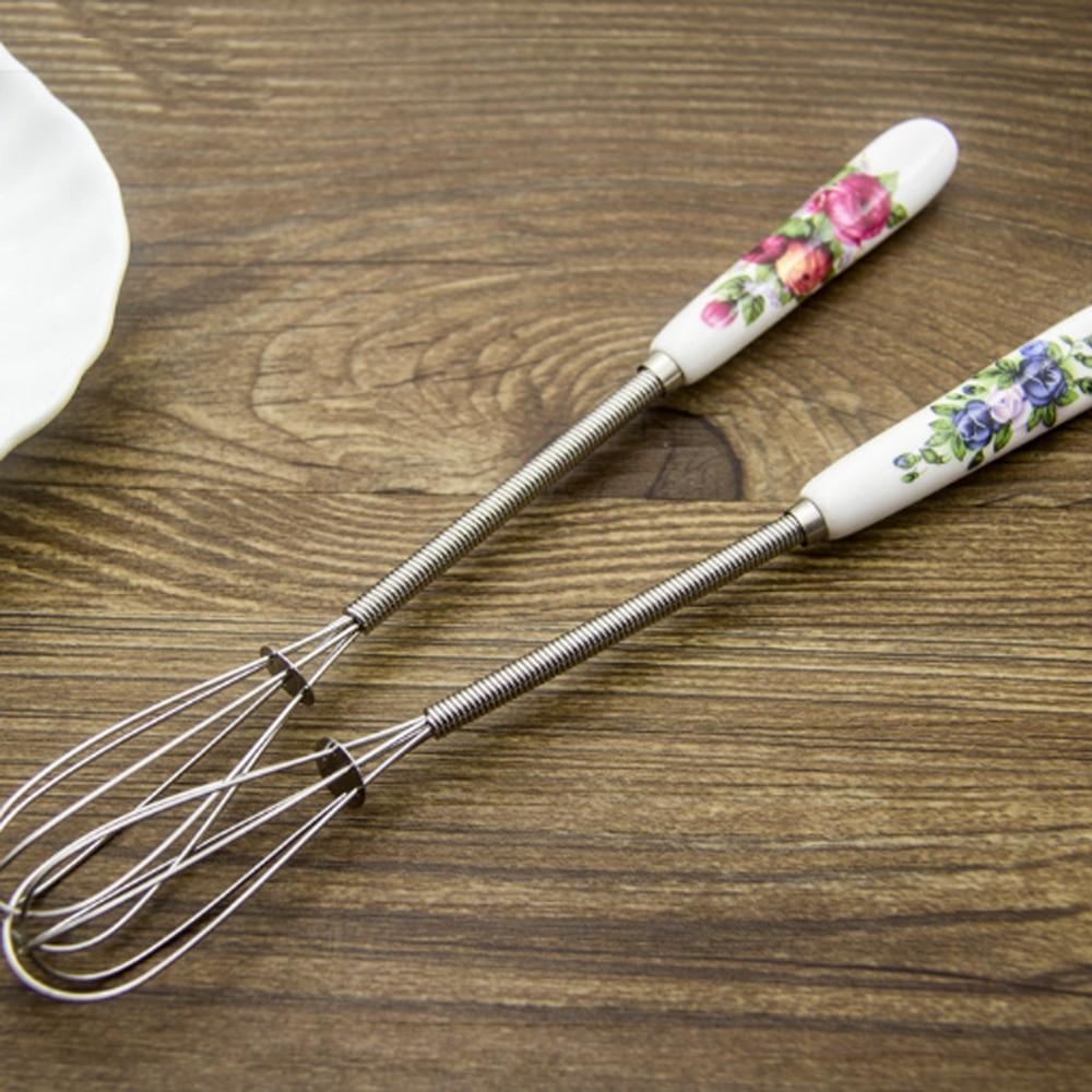 Mini Ceramic Handle Egg Beater Stirrer Hand Mixer Whisk Kitchen Accessories